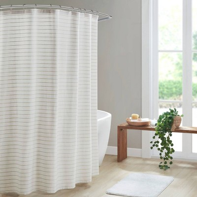 Oren Texture Striped 100% Recycled Fiber Antimicrobial Woven Shower Curtain Natural - Clean Spaces