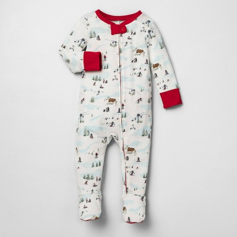 Baby Holiday Bodysuit Footed Ski Scene Pajamas - Hearth & Hand™ with Magnolia - image 1 of 3