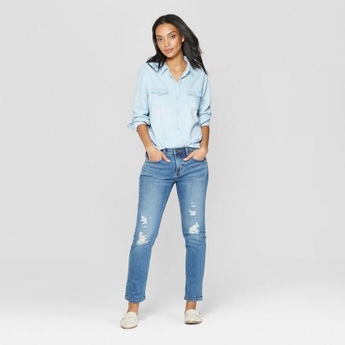 6c6013ec750 Women s Long Sleeve Collared Labette Denim Shirt - Universal Thread™ Light  Wash   Target