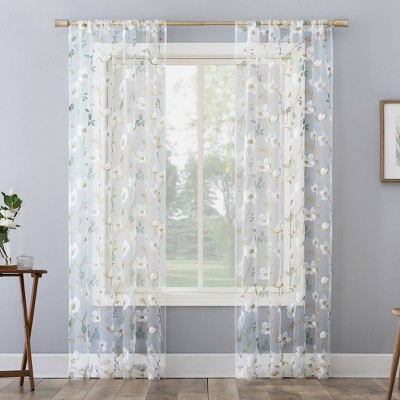 Olivia Embroidered Cottage Floral Sheer Rod Pocket Curtain Panel - No. 918