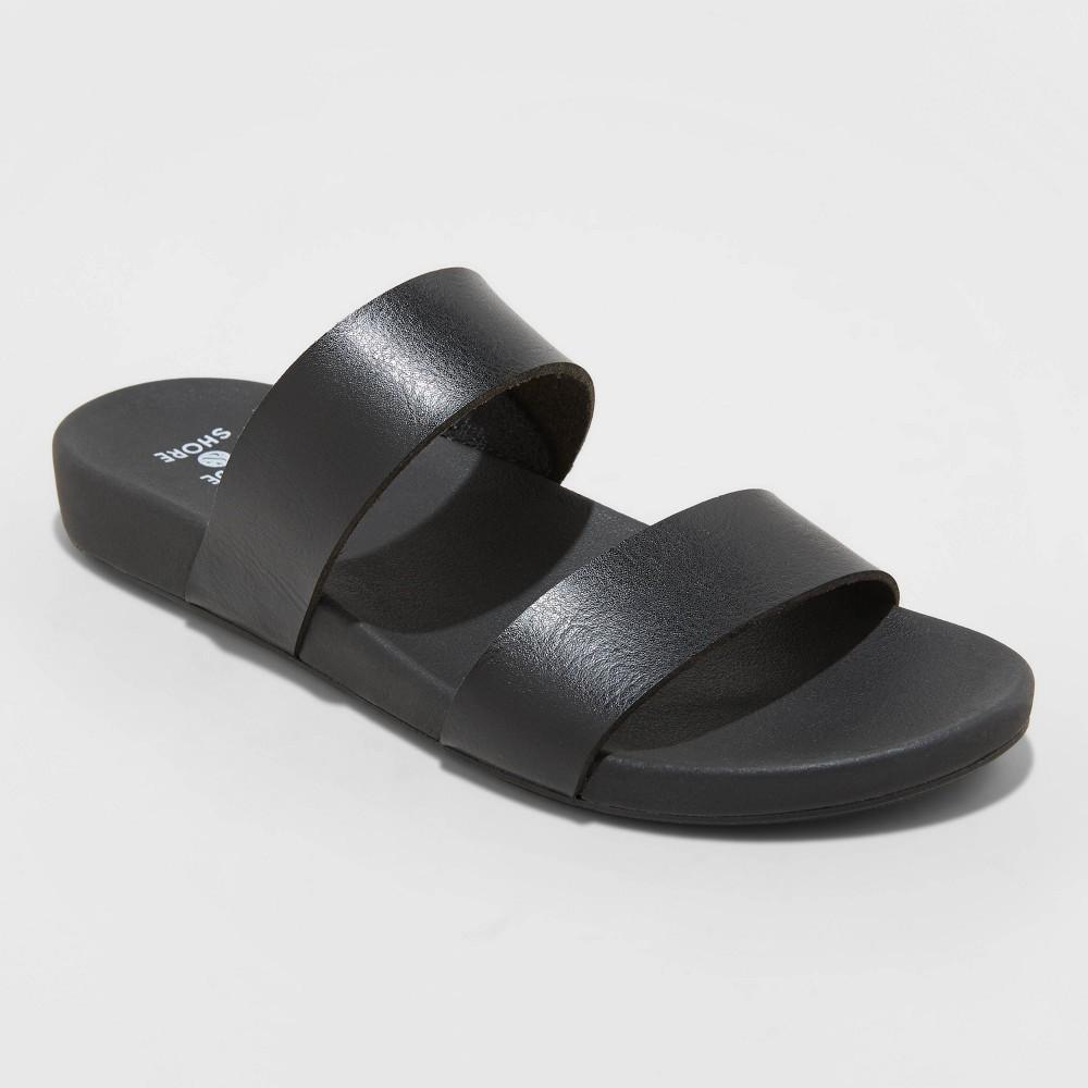 Women 39 S Dedra Two Band Slide Sandals Shade 38 Shore 8482 Black 9