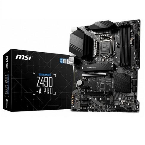 MSI Z490-A PRO ProSeries ATX Motherboard - Intel Chipset - LGA 1200 Socket - 128GB DDR4 SDRAM - 4 x DIMM Memory Slots - 6 x SATA 6 Gb/s - image 1 of 4