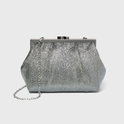 Estee & Lilly Shimmer Pouch Kiss Lock Clasp Clutch - Silver