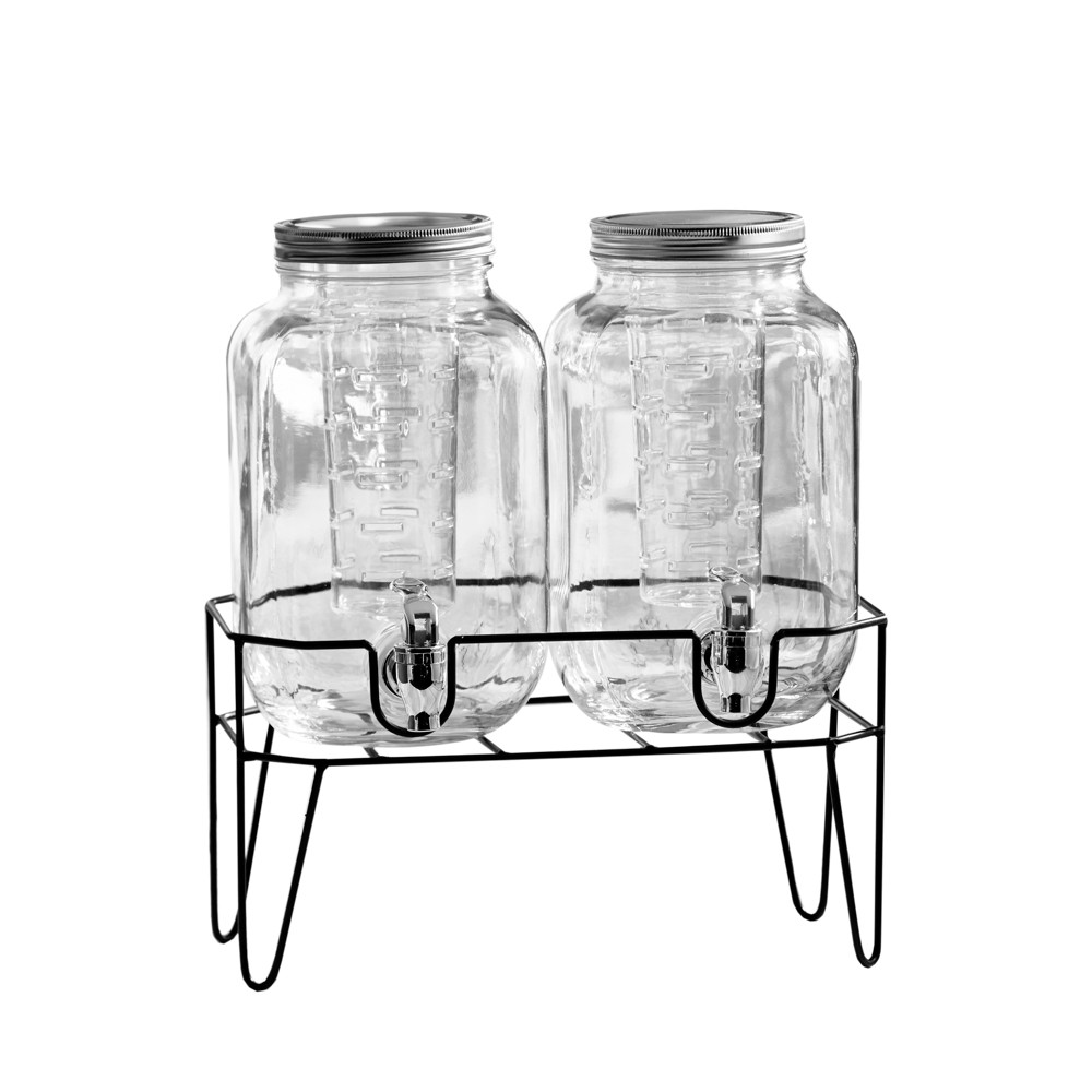 Image of 1.1gal 2pk Clifford Glass Beverage Dispensers With Infuser - American Atelier, Clear