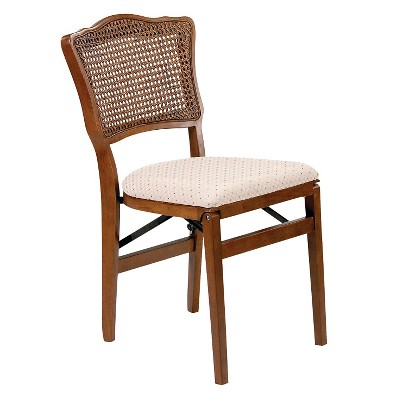 2pc French Cane Folding Chairs Fruitwood - Stakmore