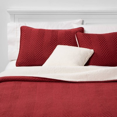 Calgary King 4pc Sherpa Quilt Set Red
