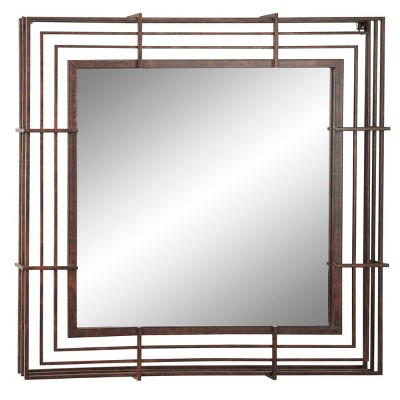 "32"" x 32"" Large Square Industrial Wrought Iron Wall Mirror Bronze - Olivia & May"