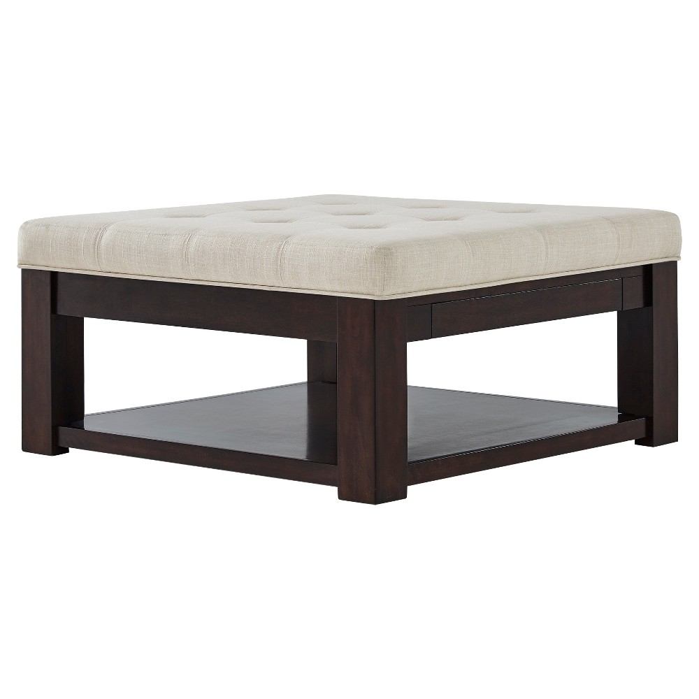 Southgate Espresso Dimple Tufted Cocktail Ottoman Oatmeal - Inspire Q