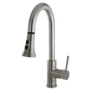 Gourmetier Single Handle Faucet with Pull Down Spout Satin Nickel - Kingston Brass