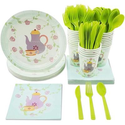 Blue Panda 144-Piece Serves 24 Tea Party Supplies - Disposable Plates, Napkins, Cups & Cutlery