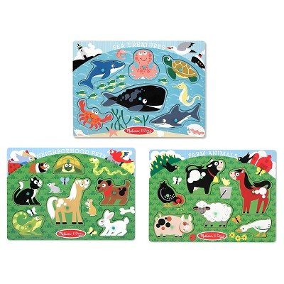 Melissa & Doug® Animals Wooden Peg Puzzles Set - Farm, Pets, and Ocean 18pc
