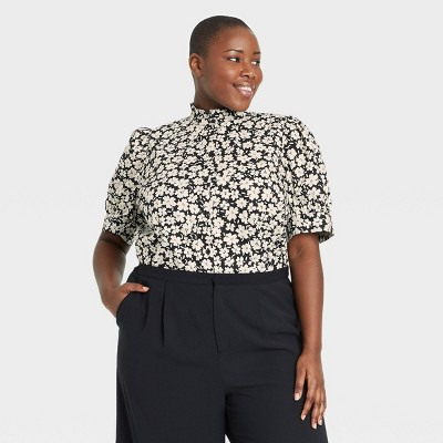 Women's Floral Print Puff Elbow Sleeve Ruffle Detail Top - Who What Wear™