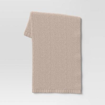 Striped Chenille Knit Throw Blanket Neutral - Threshold™