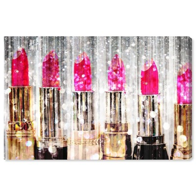 """10"""" x 15"""" Lipstick Collection Fashion and Glam Unframed Canvas Wall Art in Pink - Oliver Gal"""