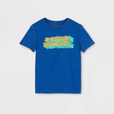 Boys' Short Sleeve 'Awesome Brother' Graphic T-Shirt - Cat & Jack™ Blue