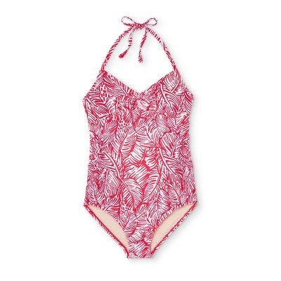 Maternity Printed Front-Tie with Peephole One Piece Swimsuit - Isabel Maternity by Ingrid & Isabel™ Red