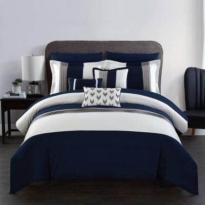 King 10pc Hester Bed In A Bag Comforter Set Navy - Chic Home Design