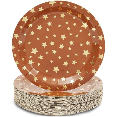 Sparkle and Bash 48-Pack Twinkle Little Star Party Supplies, Disposable Paper Dinner Plates, Brown & Gold, 9""