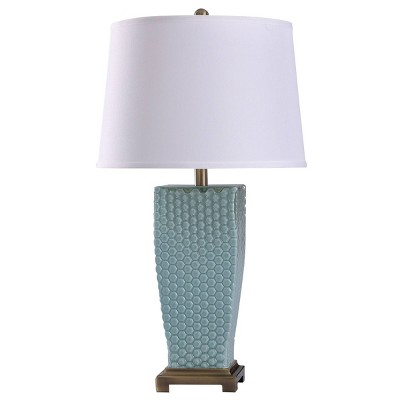 Sea Dimpled Glass Table Lamp with Tapered Drum Shade Blue - StyleCraft