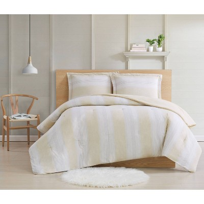 Full/Queen 3pc Farmhouse Stripe Comforter Set Beige - Cottage Classics