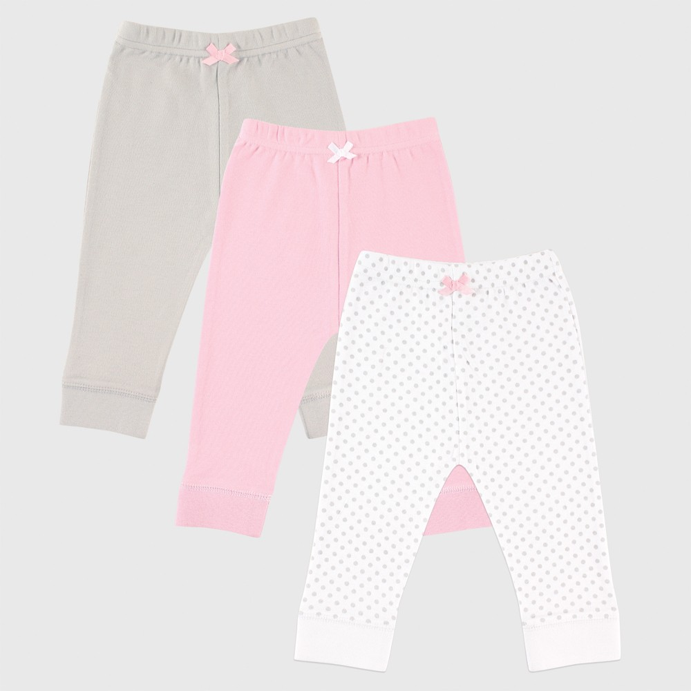 Luvable Friends Baby Girls' 3pk Tapered Ankle Pants - Gray/Pink 9-12M