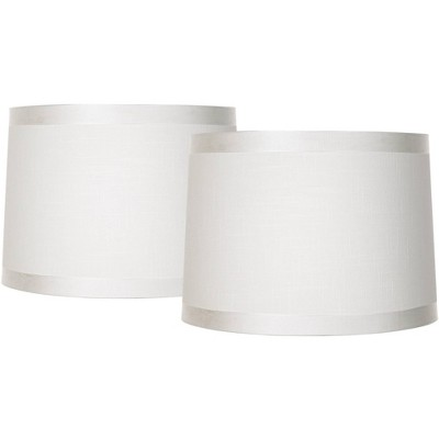 Brentwood White Fabric Set of 2 Drum Lamp Shades 13x14x10 (Spider)