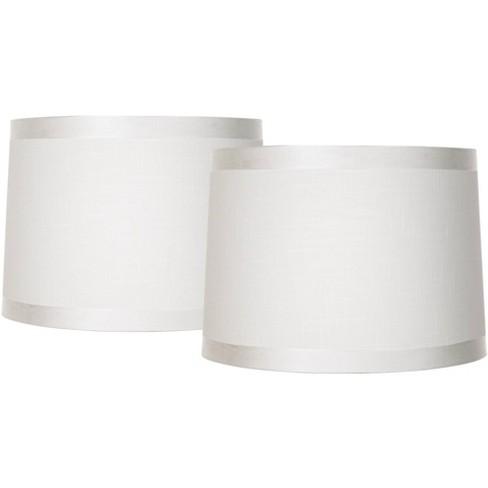 White Fabric Medium Drum Lamp Shades 13, Fabric Drum Lamp Shades