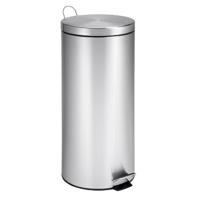 Honey-Can-Do 30L Round Step-On Trash Can - Stainless Steel