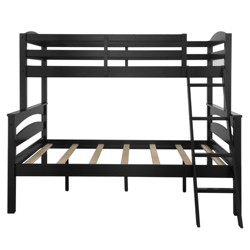 Twin over Full Maddox Wood Bunk Bed Frame for Kids Black - Dorel Living