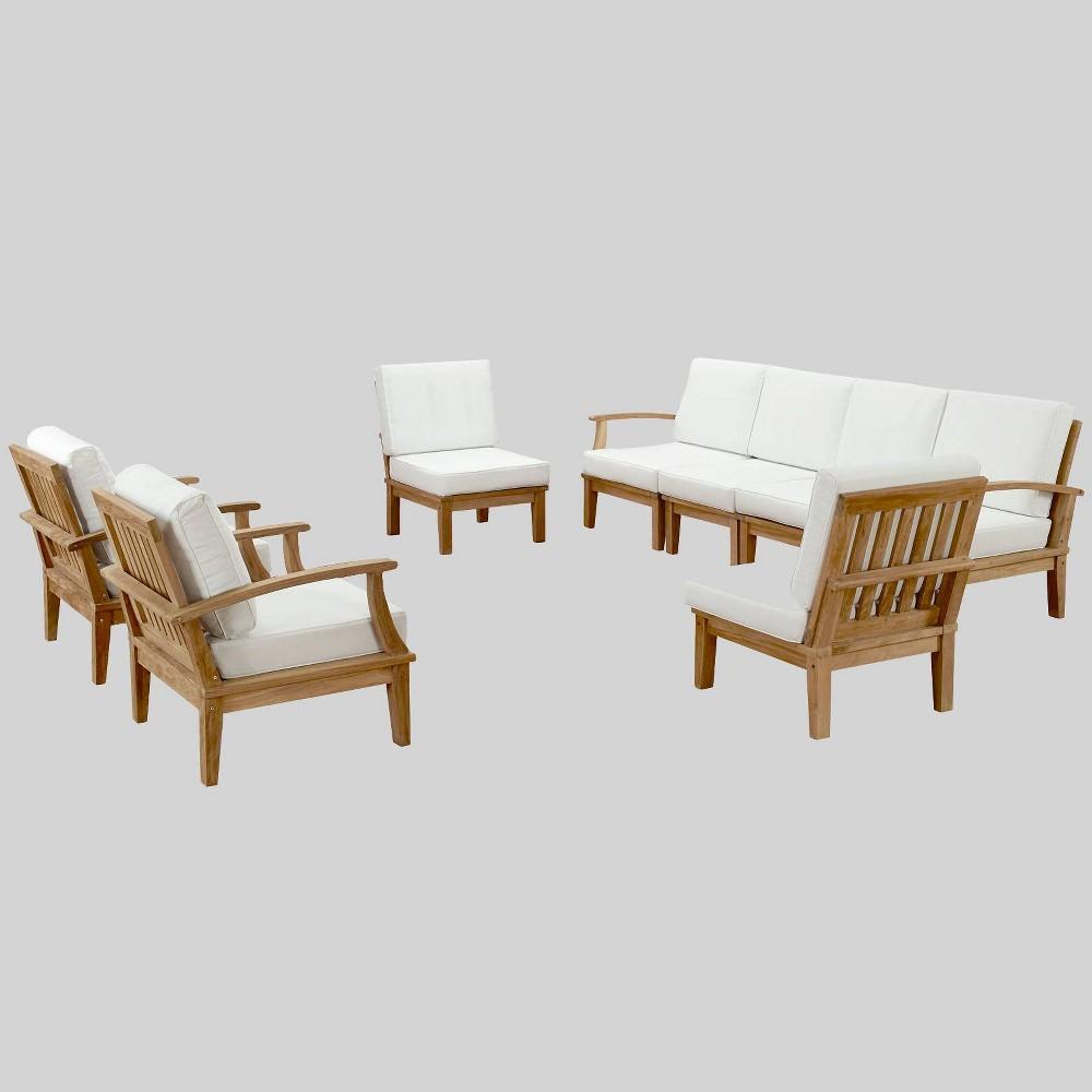 Marina 8pc Outdoor Patio Teak Set - White - Modway