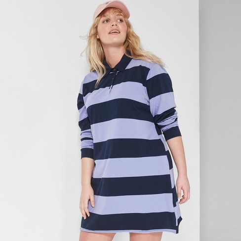 0297f4502 Women s Plus Size Striped Long Sleeve Rugby Polo Dress - Wild Fable™  Purple Navy 2X   Target