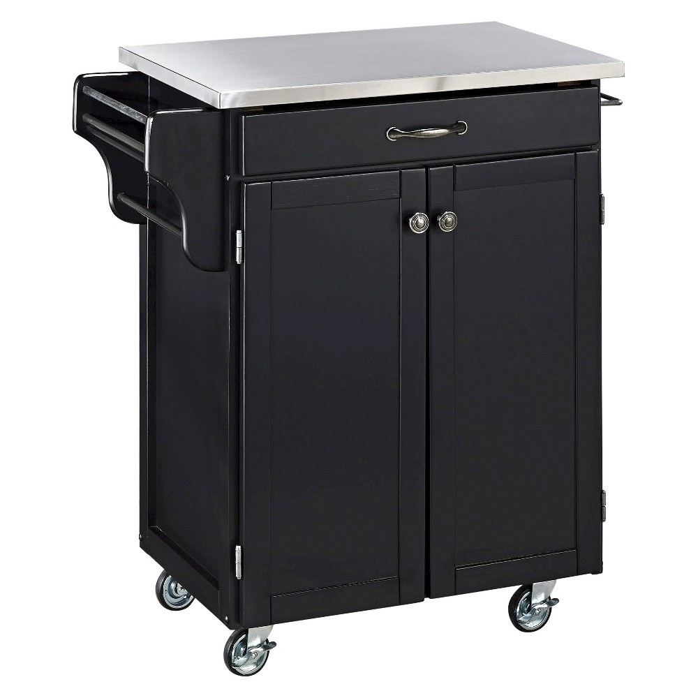 Kitchen Cart with Stainless Steel Top Wood/Black - Home Styles The Kitchen Cart with Stainless Steel Top adds valuable storage and work space to your kitchen. It has a spacious cabinet with an adjustable shelf for storing bakeware, cookware, small kitchen appliances and other accessories. This kitchen cart also has a spice rack that keeps these ingredients within easy reach. Its towel bar can be used to hang oven mitts, dish towels or other linens. This cart has a hardwood frame with a modern, ebony, black finish to complement any kitchen décor. Designed with heavy-duty, locking casters, this wood kitchen cart is easy to move.