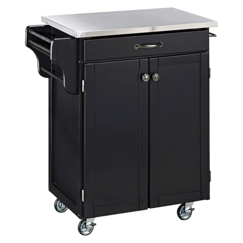 Kitchen Cart with Stainless Steel Top Wood/Black - Home Styles