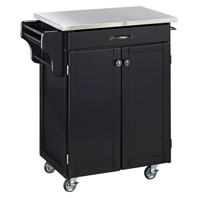 Kitchen Cart With Stainless Steel Top Wood/Black   Home Styles