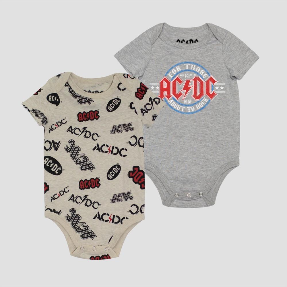Baby Boys' 2pk AC/DC Bodysuit - Gray/White 24M, Multicolored