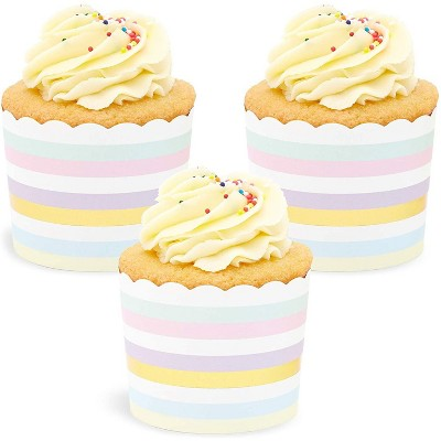 Sparkle and Bash 50 Pack Muffin Liners - Pastel and Gold Foil Striped Cupcake Wrappers Paper Baking Cups