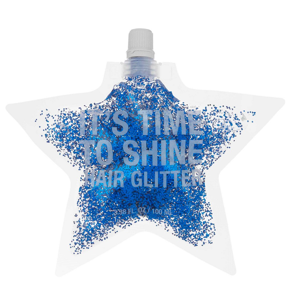 Image of Jean Pierre It's Time To Shine Star Hair Glitter Pouch - Blue - 100ml