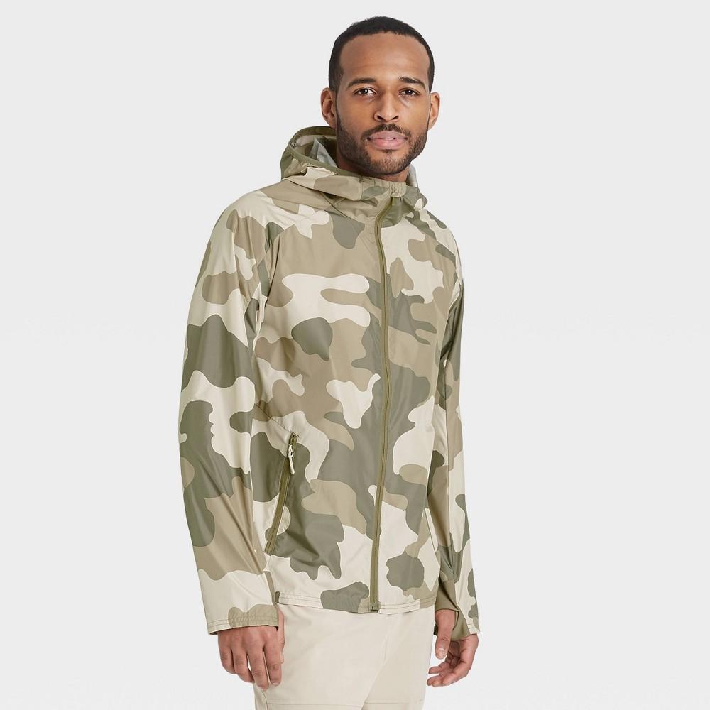 Men 39 S Big 38 Tall Camo Print Windbreaker Jacket All In Motion 8482 Ivory Xxxl