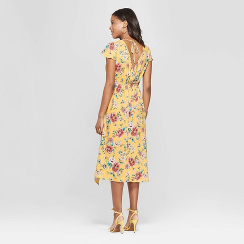 Women s Floral Print Short Sleeve Deep V-Neck Wrap Midi Dress - Xhilaration™  Mustard S   Target fb41240af