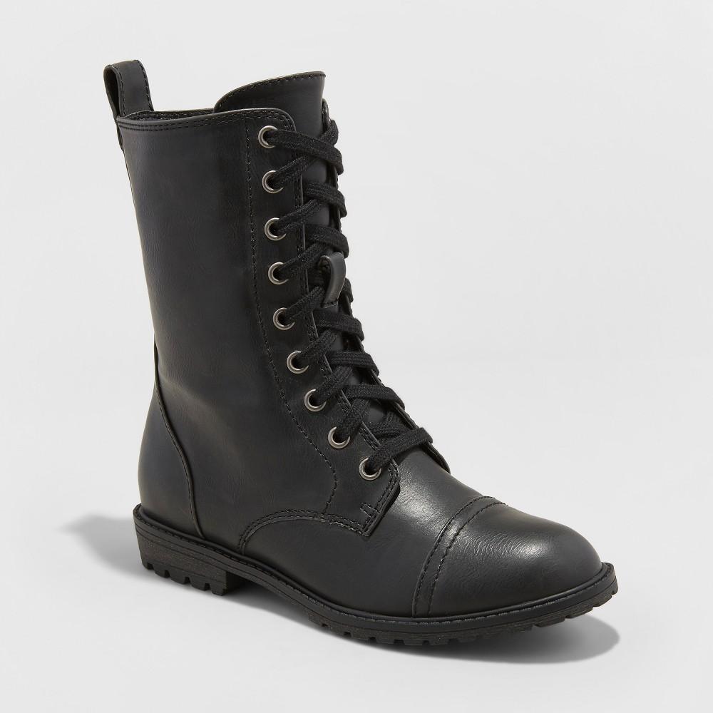 Women's Cassandra Wide Width Combat Boots - Universal Thread Black 8W, Size: 8 Wide