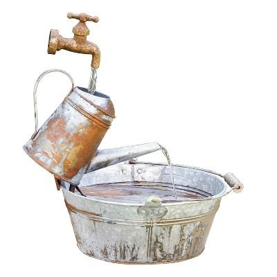 Rustic Watering Can Metal Fountain - Alpine Corporation