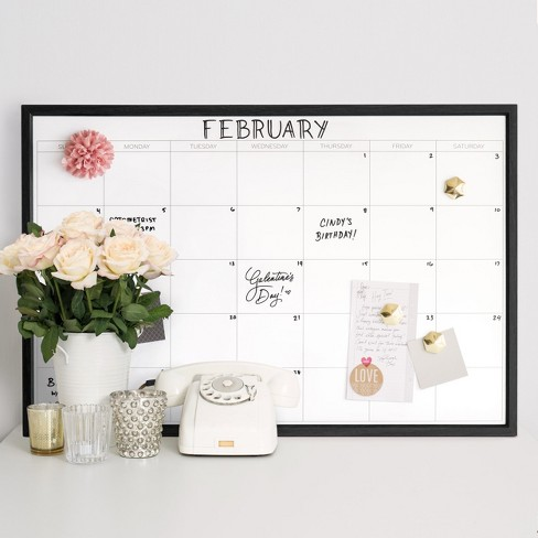 Ubrands Calendar Dry Erase Board With Wood Frame And Magnet 20 X