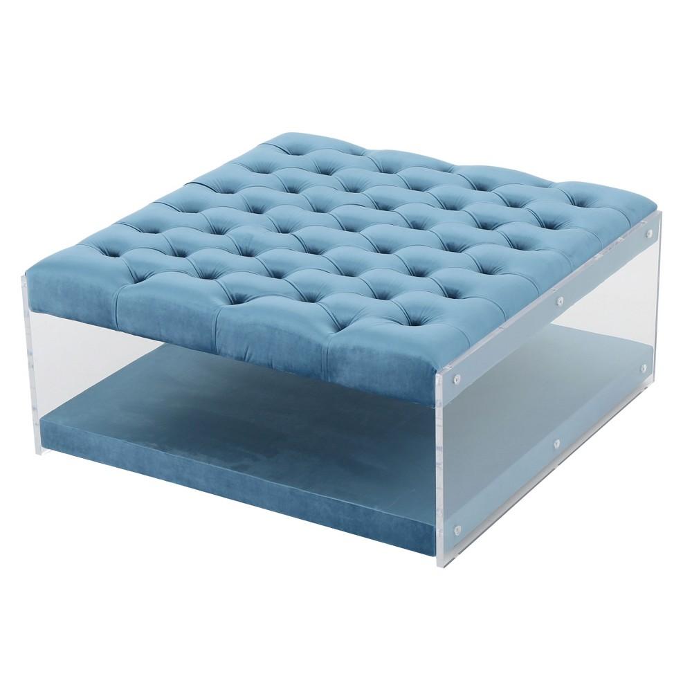 Massimo New Velvet Ottoman - Aqua (Blue) - Christopher Knight Home