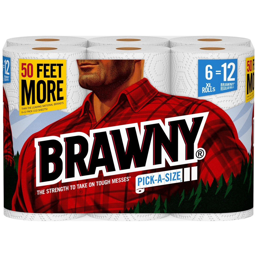 Brawny Pick-A-Size Paper Towels - 6 XL Rolls Bring home Pick-a-Size Paper Towels from Brawny to thoroughly clean up any messes around your home. Perfect for any kind of mess, these Pick-a-Size embossed paper towels are super soft and absorbent to tackle any task. Pick-a-Size XL offers 15 feet more than the leading national brands and 2 XL Rolls equal 4 Regular Brawny Rolls. One of these two-ply paper towels absorbs as much as two regular paper towels, letting you use fewer paper towels to clean up spills. Brawny Paper Towels are also perfect for food preparation, cooking, cleaning kitchen countertops and bathroom surfaces. Customize your clean with Brawny Pick-a-Size Paper Towels. Since 1974, the Brawny brand has been an American icon of strength and durability. It is the original, big, tough towel. Made to be gentle but engineered to handle the tough messes life can dish out. Size: 6ct.