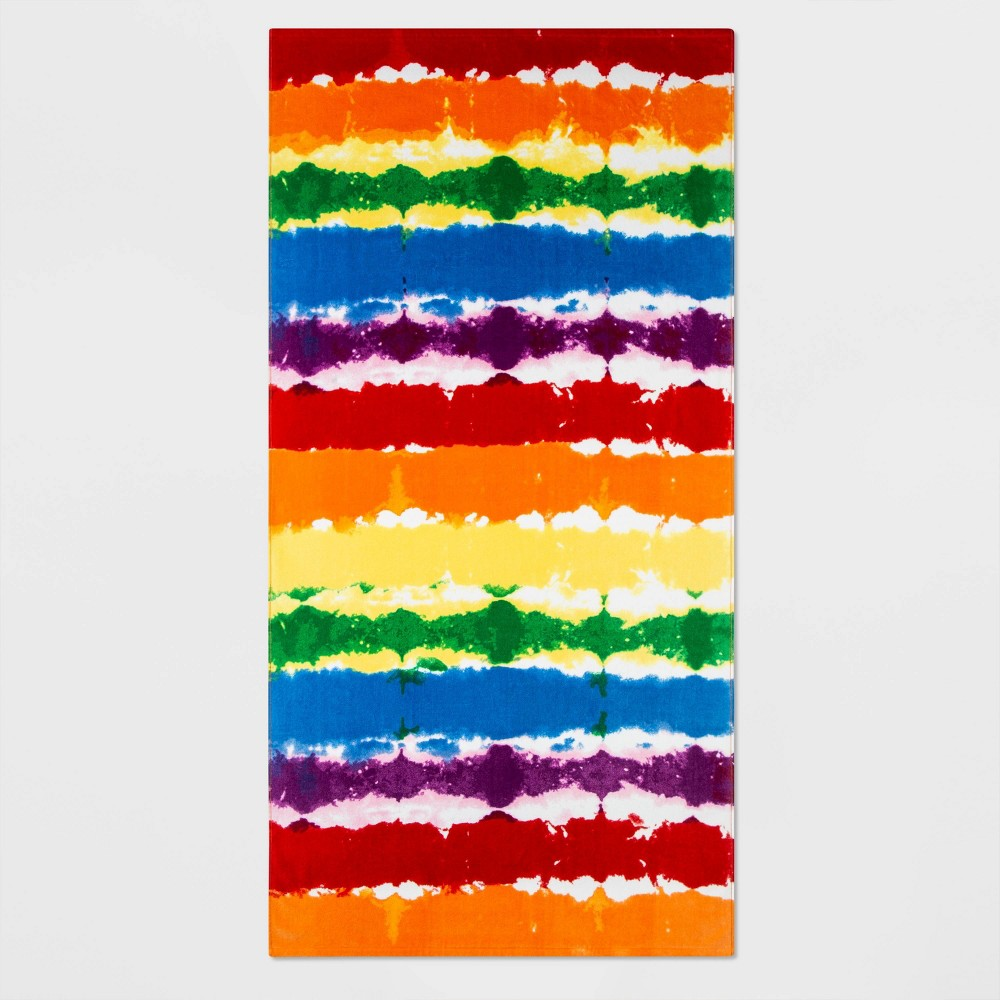 Image of Pride Gender Inclusive Rainbow Tie-Dye Beach Towel