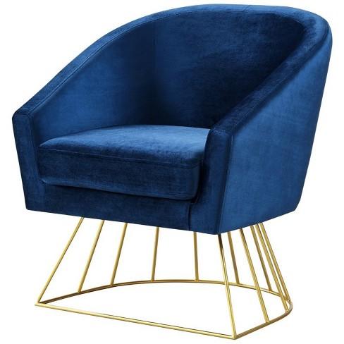 Leo Navy Velvet Accent Chair - Gold Metal Base - Barrel Tufted in Blue - Posh Living - image 1 of 3
