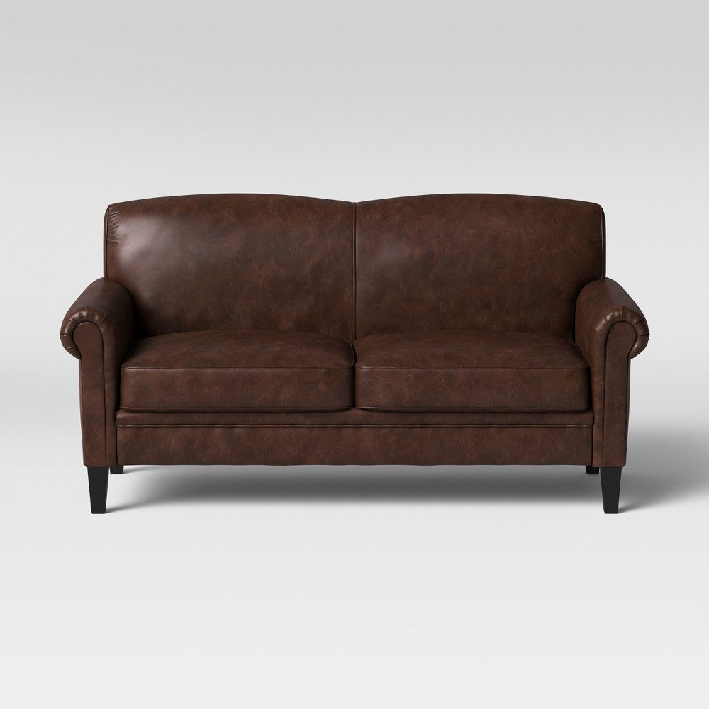Belmont Rolled Arm Sofa Faux Leather Chocolate Brown - Threshold