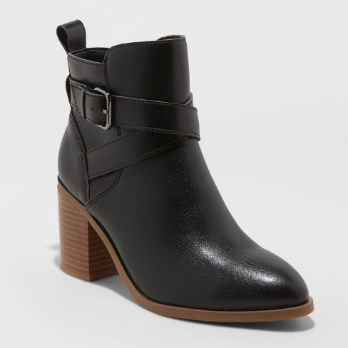 Women's Lottie Heeled Buckle Ankle Bootie - A New Day™ - image 1 of 3