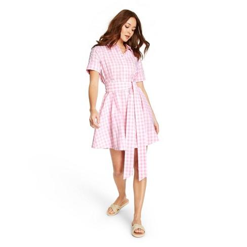 Women's Gingham Button-Front Shirtdress - Lisa Marie Fernandez for Target (Regular & Plus) Pink/White - image 1 of 4