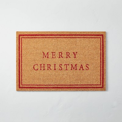 Merry Christmas Bordered Coir Doormat Tan/Red - Hearth & Hand™ with Magnolia